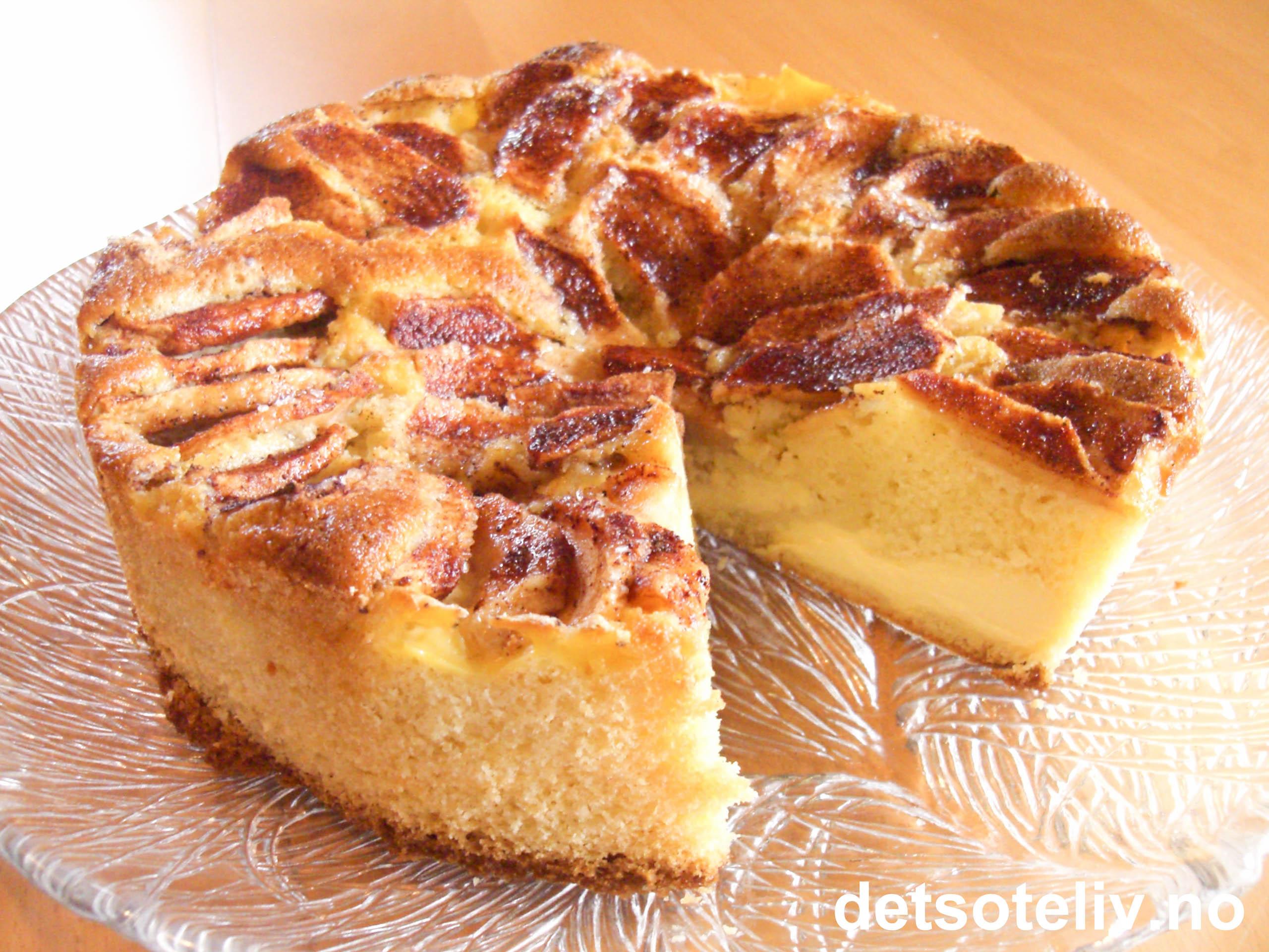 oppskrift eplekake med vaniljekrem