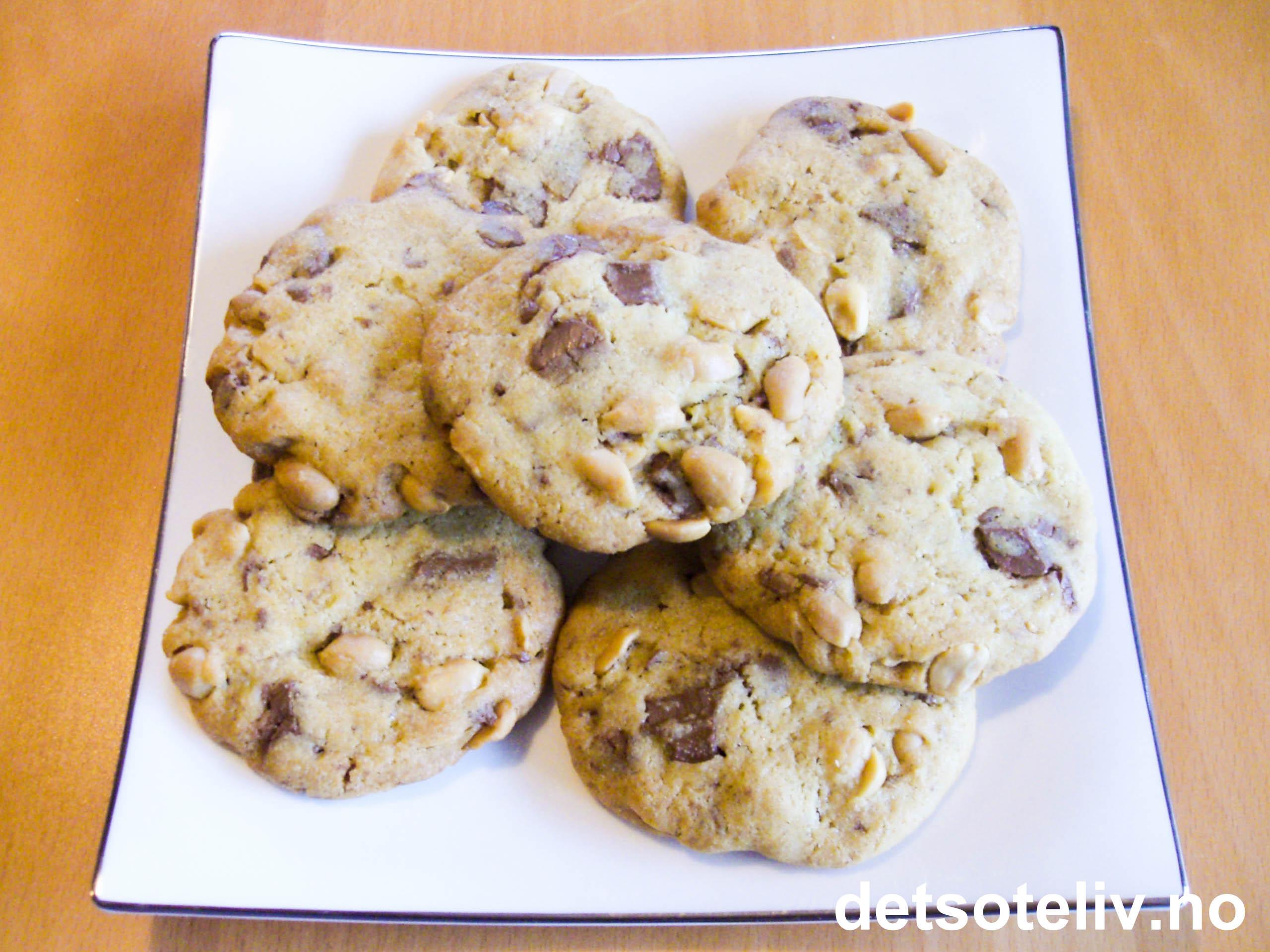 940543463 Cookies med sjokolade og peanøtter | Det søte liv